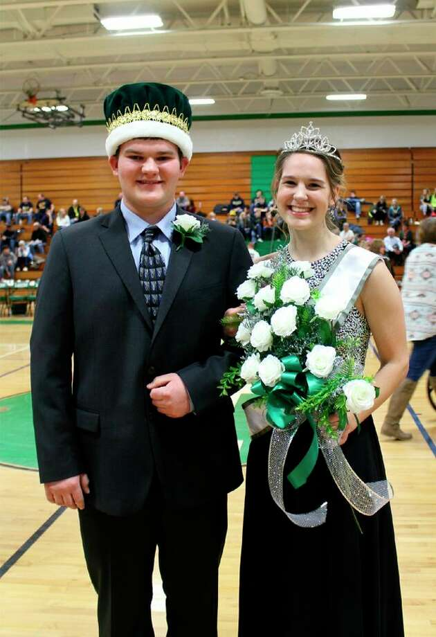 At the Coming Home pep assembly, Mitchell Schuette was crowned as the prince. Michelle Deering was crowned as princess during halftime of the Coming Home game. (Submitted Photo)