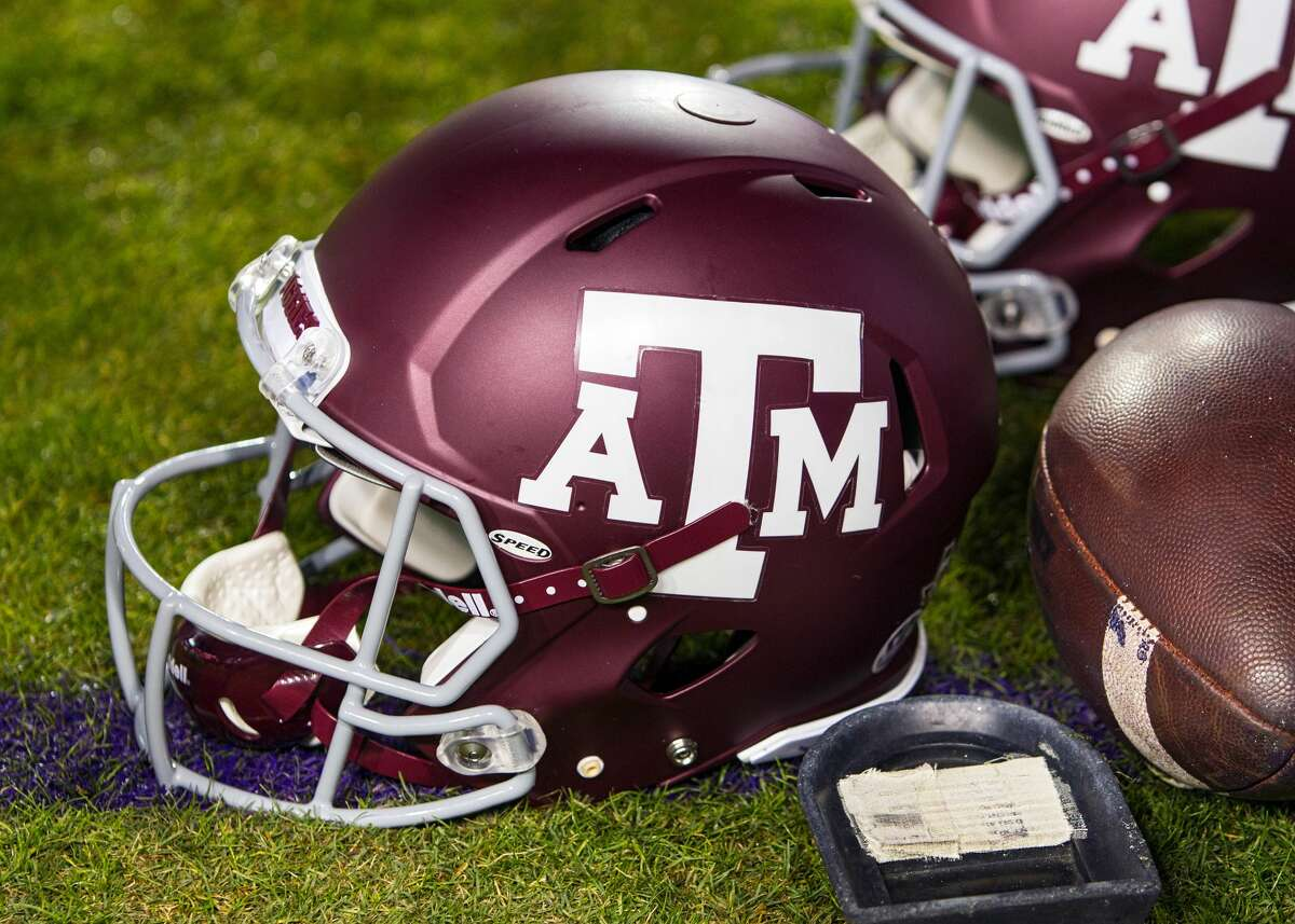 BATON ROUGE, LA - NOVEMBER 25: a Texas A&M helmet rests on the sideline during a game between the Texas A&M Aggies and the LSU Tigers on November 25, 2017 at Tiger Stadium in Baton Rouge, Louisiana. (Photo by John Korduner/Icon Sportswire via Getty Images)