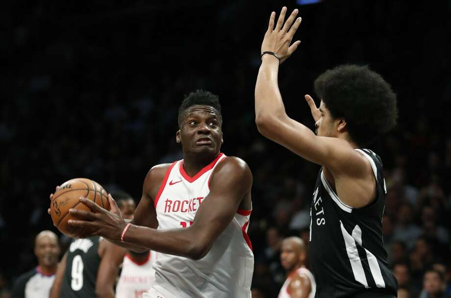 Houston Rockets center Clint Capela (15) looks to drive around Brooklyn Nets center Jarrett Allen (31) during the first half of an NBA basketball game, Tuesday, Feb. 6, 2018, in New York. (AP Photo/Kathy Willens) Photo: Kathy Willens/Associated Press