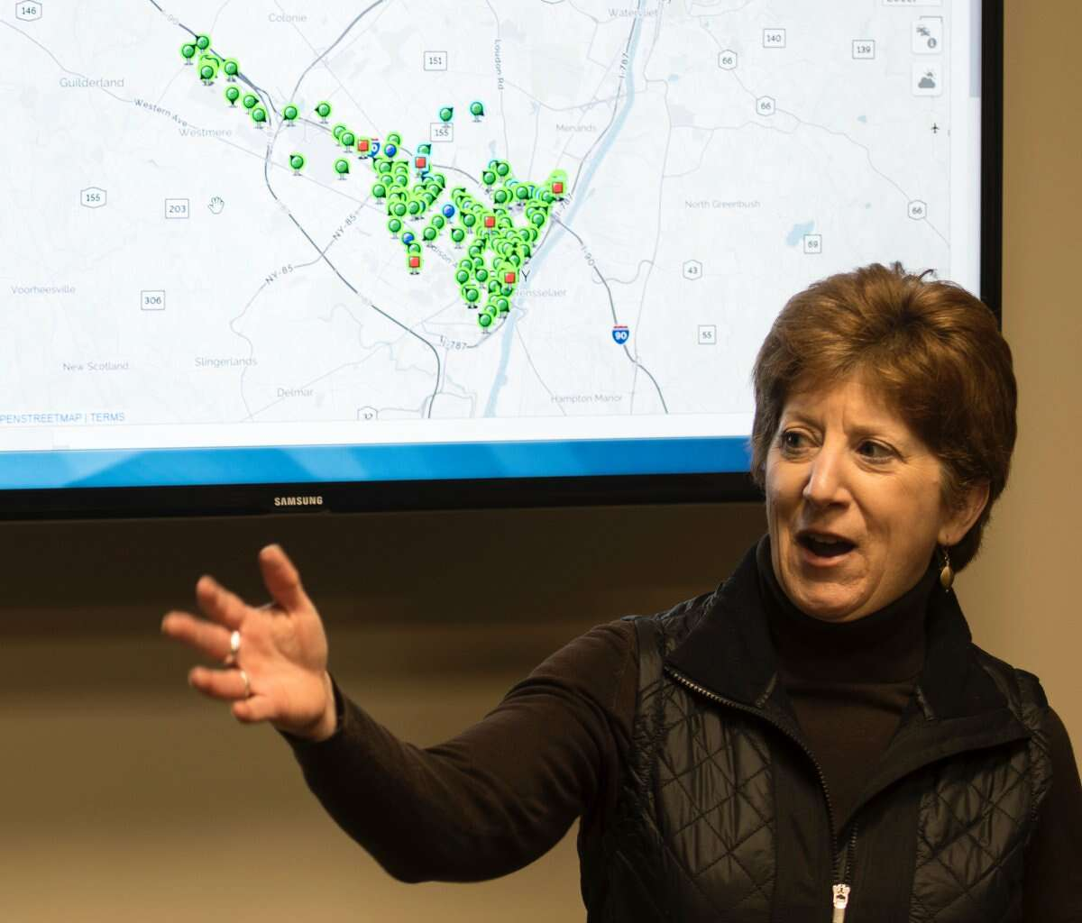 Albany Mayor Kathy Sheehan on Thursday declared a state of emergency in Albany while a powerful nor'easterdumps heavy snow on the Northeast. In this photograph, the mayor details her plan for snow coverage as a snowstorm hit the city onFeb. 7, 2018. (Skip Dickstein/Times Union)