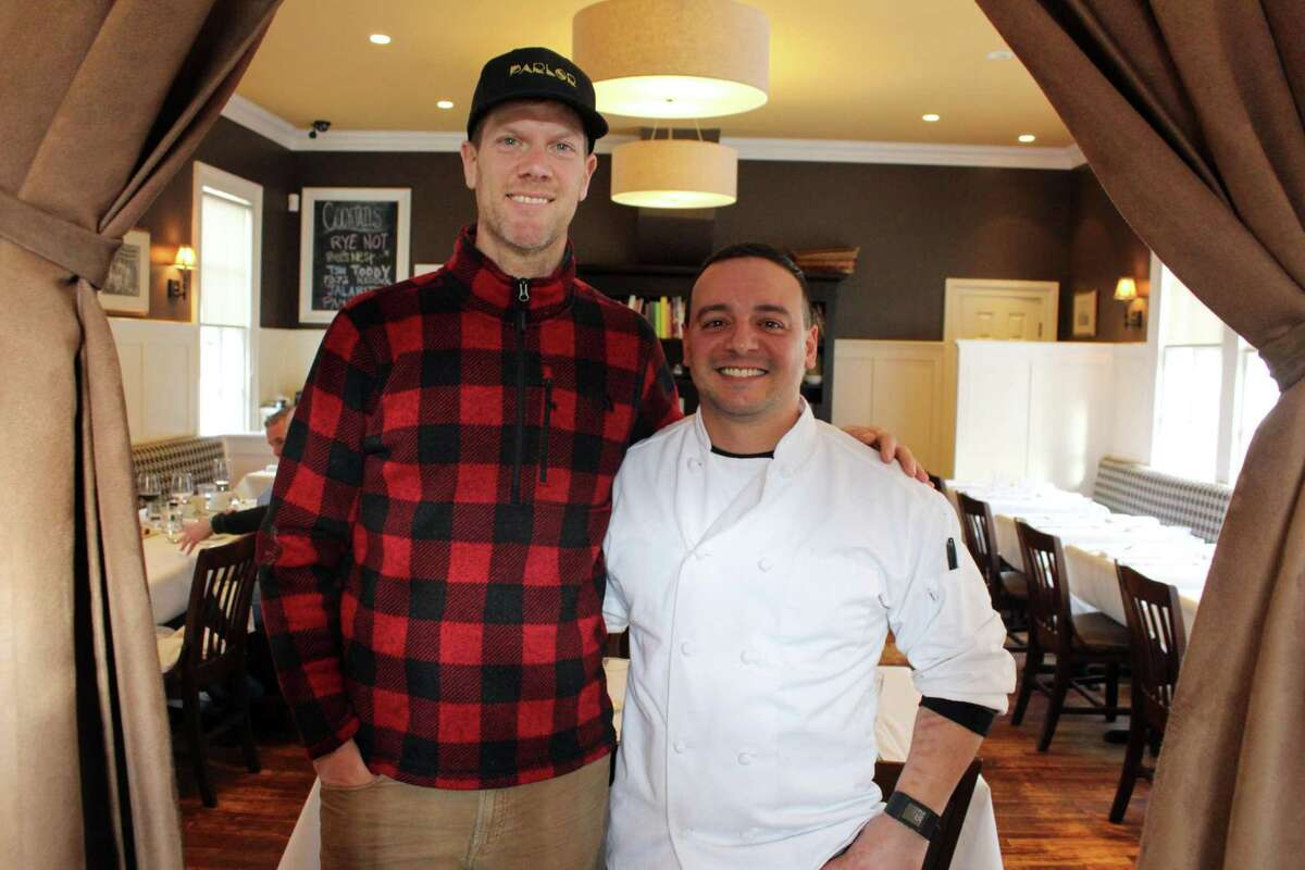 Schoolhouse at Cannondale Chef and Owner Tim LaBant and his chef de cuisine Lenny Pisani inside the restaurant at 34 Cannon Road.