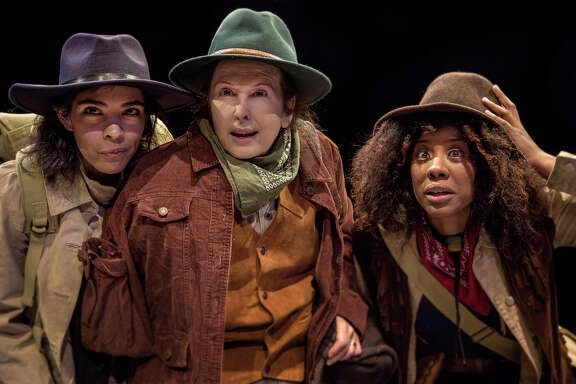 "From left, Hall (Marissa Castillo), Powell (Celeste Roberts), and O.G. Howland (Candice D'Meza), in Main Street Theater's production of ""Men on Boats."""