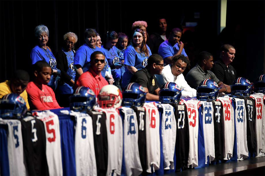 Eleven West Brook High School athletes signed letters of intent on National Signing Day Wednesday.Guiseppe Barranco/The Enterprise Photo: Guiseppe Barranco