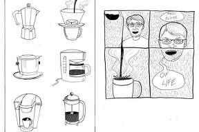 "A selection from Zach Dubuisson's mini comic, ""Coffee Comics."" Photo courtesy of Zach Dubuisson"