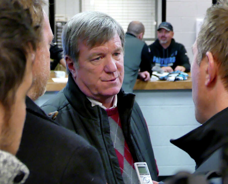 Marty Hurney, interim general manager of the Carolina Panthers, talks with reporters as the NFL football team cleans out its lockers on move-out day at Bank of America Stadium, Monday, Jan. 8, 2017, following Sunday's first-round playoff loss to the New Orleans Saints. (Davie Hinshaw/The Charlotte Observer via AP) Photo: Davie Hinshaw, Associated Press / The Charlotte Observer