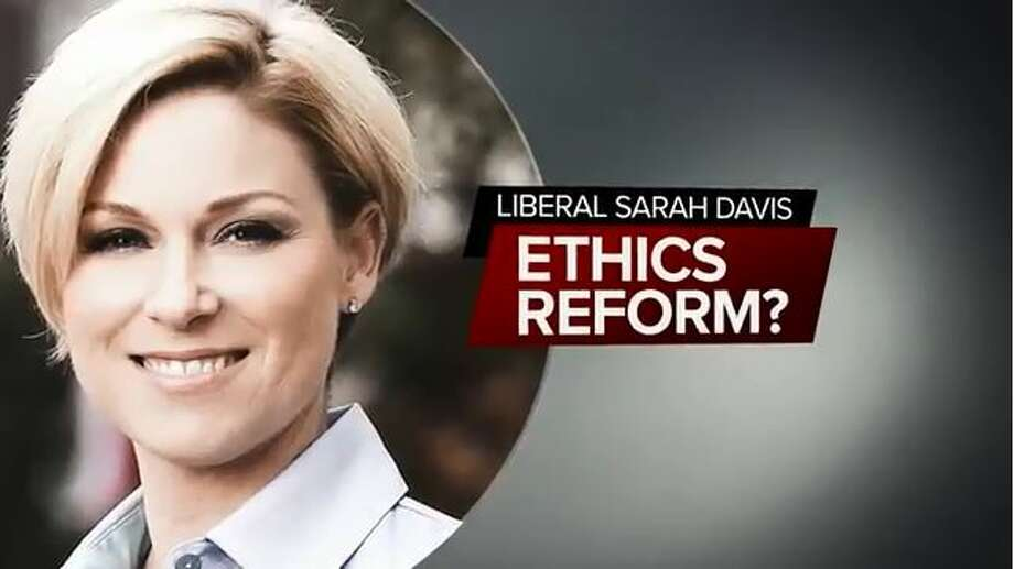Rep. Sarah Davis, a West University Place Republican, continues to catch heat from Gov. Greg Abbott. His latest ad against her accuses her of bottling up an ethics bill out of spite. (Image courtesy of Texans for Greg Abbott)