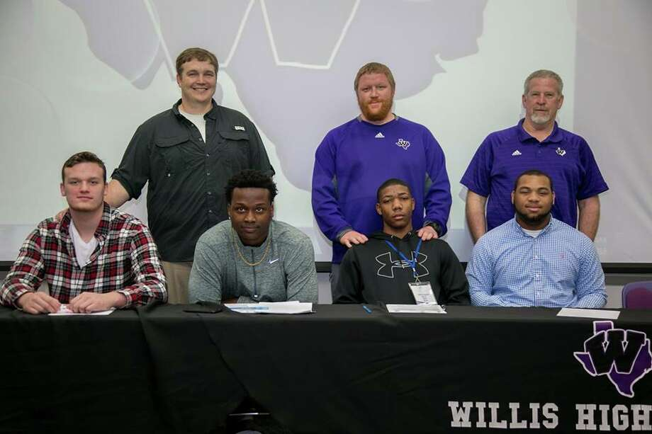 From left: Willis' Jake Jones, Jermarcus White, Taion Chatman and Darius Reece all signed with Blinn College on Wednesday. Photo: Willis ISD