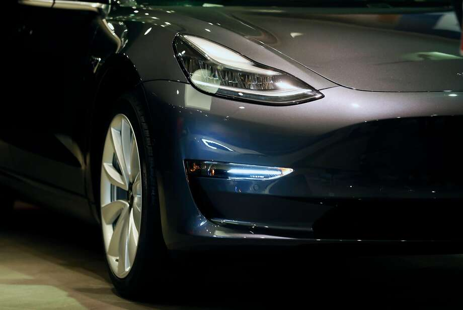 Tesla 3; anybody got a charge? Photo: Scott Strazzante, The Chronicle