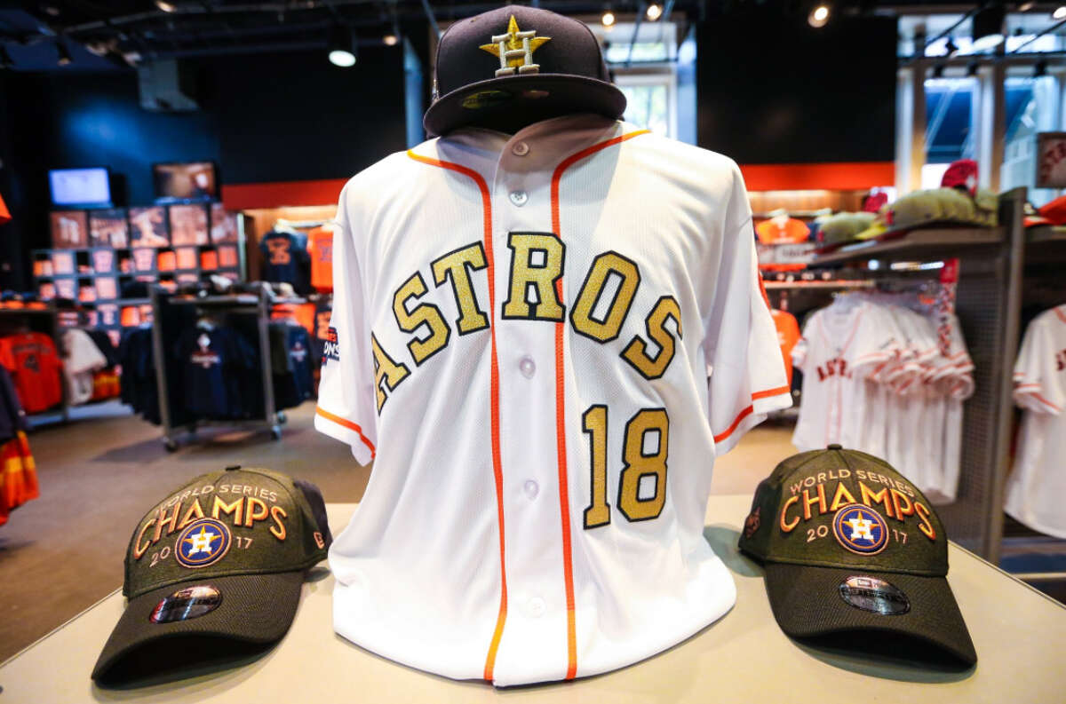 PHOTOS: A closer look at the Astros' special jerseys The Houston Astros will wear these special championship-themed jerseys for their first two home games of the season on April 2 and April 3 to celebrate last year's World Series.