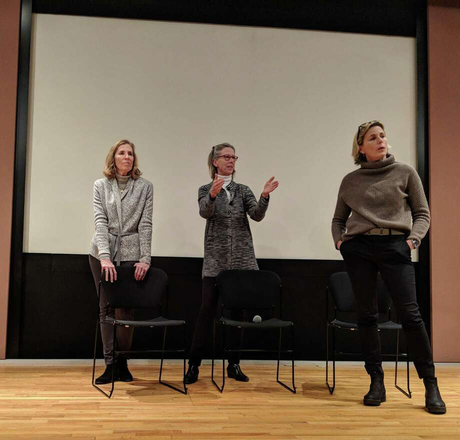 "After the screening of ""Bag It"" at Greenwich Library, Mary Shaw Halsey (left), Karen DeWahl (middle) and Anne Ogilvy (right) answered questions about BYOGreenwich and its goals to reduce plastic bag usage in town. Now they are hosting a bag drive. Photo: Jennifer Turiano / Hearst CT Media"
