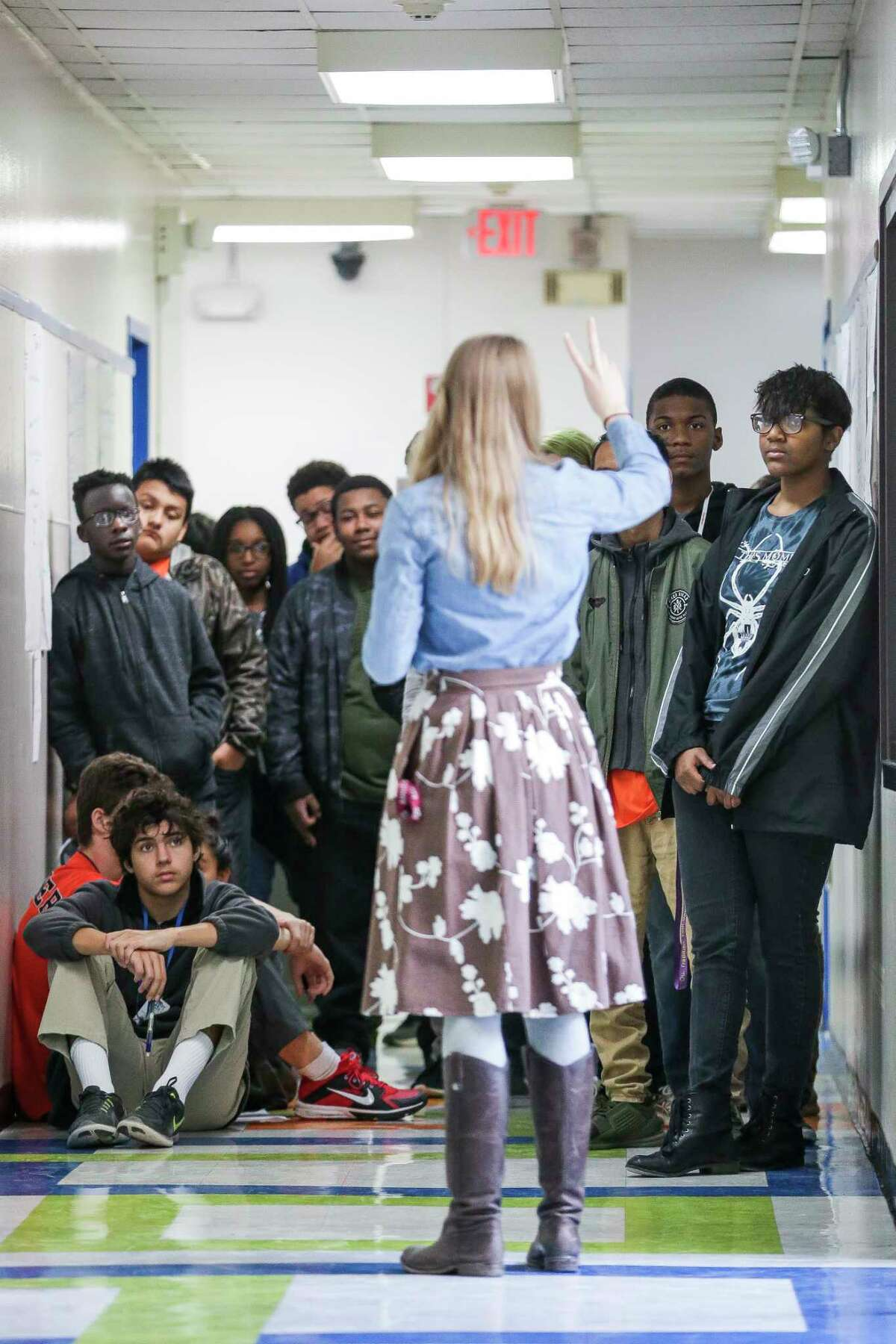 Students listen to their intro to engineering design teacher Julie Lockhart at the Energy Institute High School, a STEM-focused magnet school in Houston ISD, Tuesday, Jan. 30, 2018 in Houston. ( Michael Ciaglo / Houston Chronicle)
