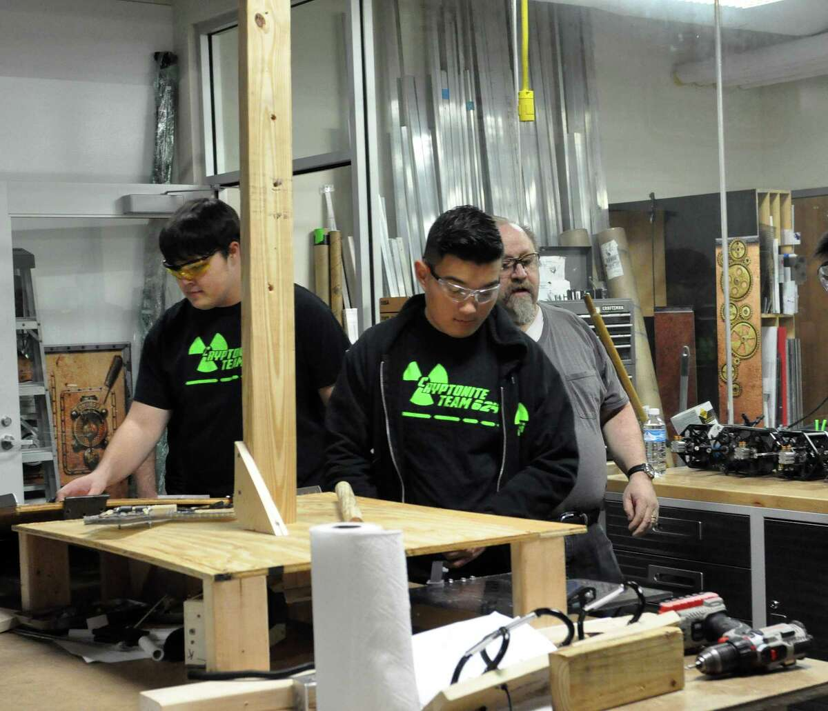 Students fromCinco Ranch High School Robotics Team 624 work on their machine for the 2018 international FIRST competition at a special facility for Science, Technology, Engineering and Math education built by theKaty Independent School District. The national championship will be held at the George R. Brown Convention Center from April 18-21.