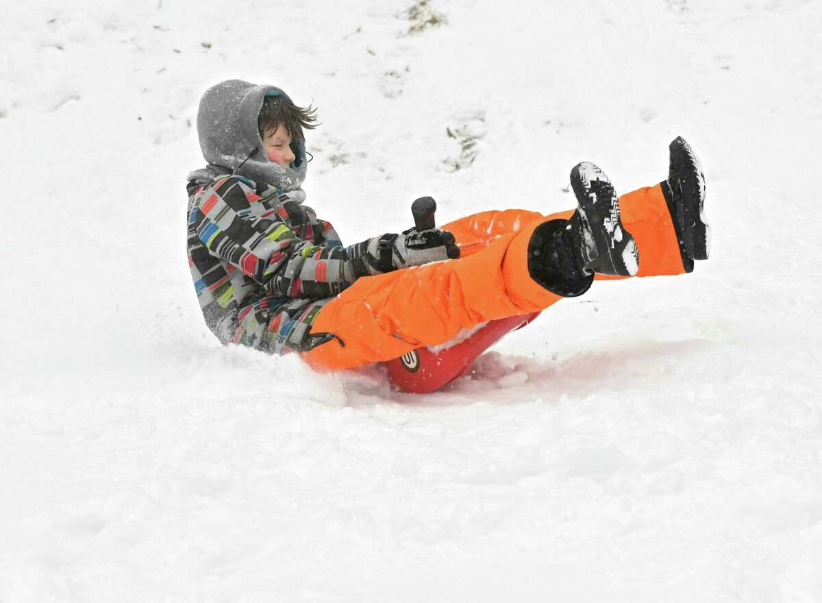 John Lamont, 11, of Albany braves a steep hill in Washington Park during a snow storm on Wednesday, Feb. 7, 2018 in Albany, N.Y. (Lori Van Buren/Times Union)