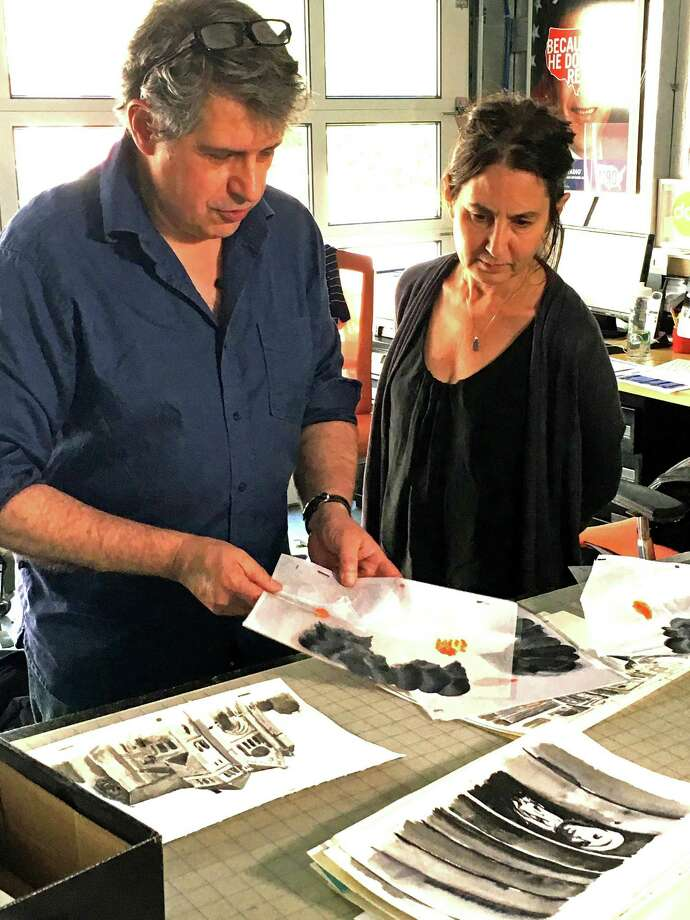 "Westport animator and artist Jeff Scher works with director Amy Schatz for scenes in the new HBO documentary film, ""The Number on Great-Grandpa's Arm,"" which recently debuted on the channel. Photo: HBO / Contributed Photo / Connecticut Post contributed"
