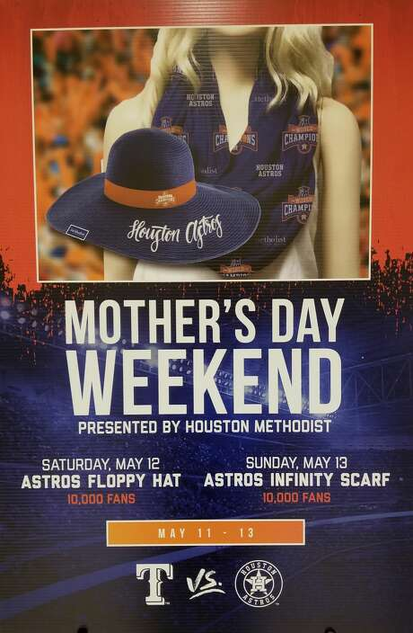 For Mother's Day Weekend, the Astros will have a pair of giveaways. The first, an Astros Floppy Hat, will be on Saturday, May 12, while the Astros Infinity Scarf will be on Sunday, May 13. Both will be available for the first 10,000 fans on each day. Photo: Demetrio Teniente