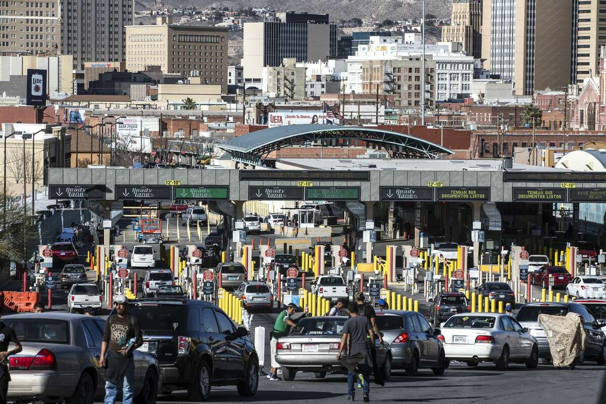 Cars line up at the checkpoint into the United States on the Paso del Norte Bridge, also known as the ?