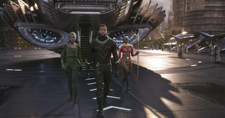 "Danai Gurira, from left, Chadwick Boseman and Lupita Nyong'o are featured in ""Black Panther."" Photo: Marvel"