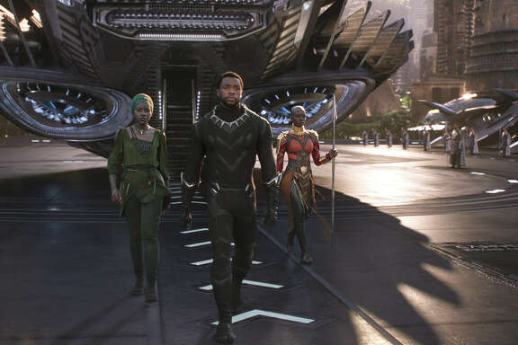 "Danai Gurira, from left, Chadwick Boseman and Lupita Nyong'o are featured in ""Black Panther."""