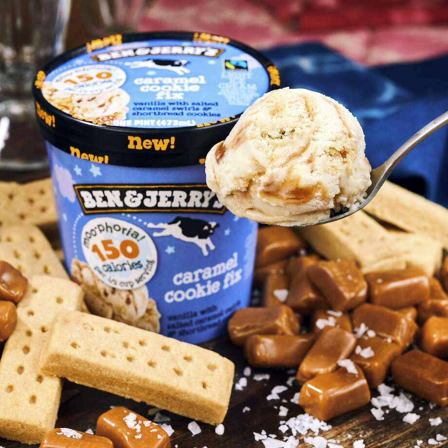 Ben & Jerry's Moo-phoria line has flavors like Cara mel Cookie Fix. The calorie count is for half a cup. Photo: Associated Press
