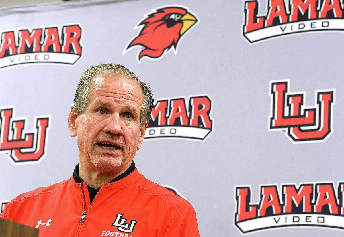 Lamar head football coach Mike Schultz talks about the latest round of recruits to join the Cardinals during a National Signing Day event Wednesday. Photo taken Wednesday, February 7, 2018 Kim Brent/The Enterprise