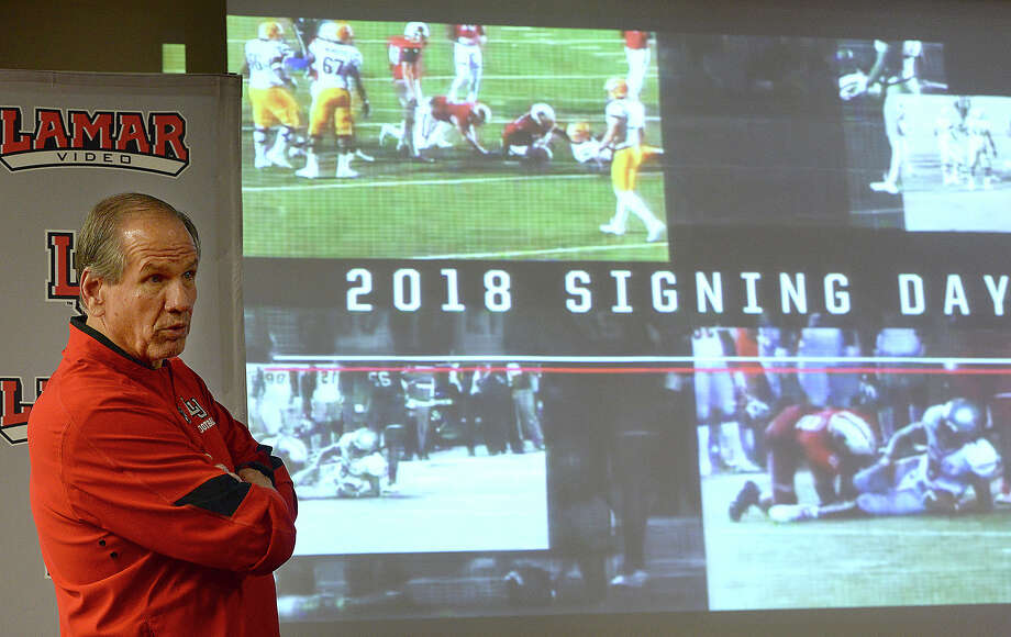 Lamar head football coach Mike Schultz comments as video clips showing the talents of the Cardinals' latest recruits is shown during a National Signing Day event Wednesday. Photo taken Wednesday, February 7, 2018 Kim Brent/The Enterprise Photo: Kim Brent