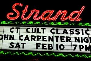 The marquis of the Strand movie theater in Seymour, Conn. on Tuesday Feb. 6, 2018. Every other month Derby resident Larry Dwyer runs a double feature cult classic horror movie at the Strand Theater in Seymour. This month features John Carpenter films on Sat. Feb. 10th at 7 p.m.