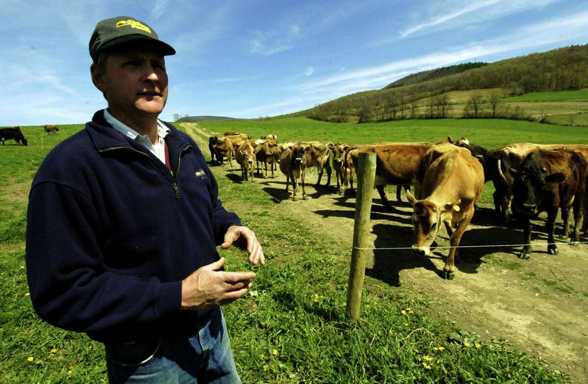 TIMES UNION STAFF PHOTO WILL WALDRON-- Chuck Phippen from Breese Hollow Dairy, in Hoosick Falls, won the first license in New York given out to produce and sell unpasteurized milk. Thursday May 5, 2005.