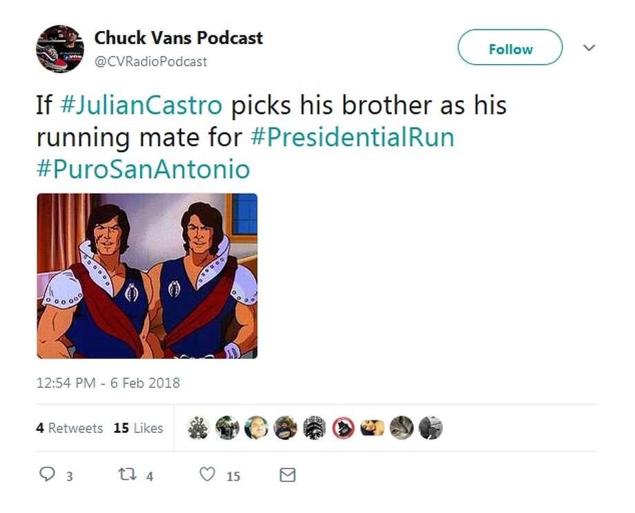 "@CVRadioPodcast: ""If #JulianCastro picks his brother as his running mate for #PresidentialRun #PuroSanAntonio"" Photo: Twitter/@CVRadioPodcast"