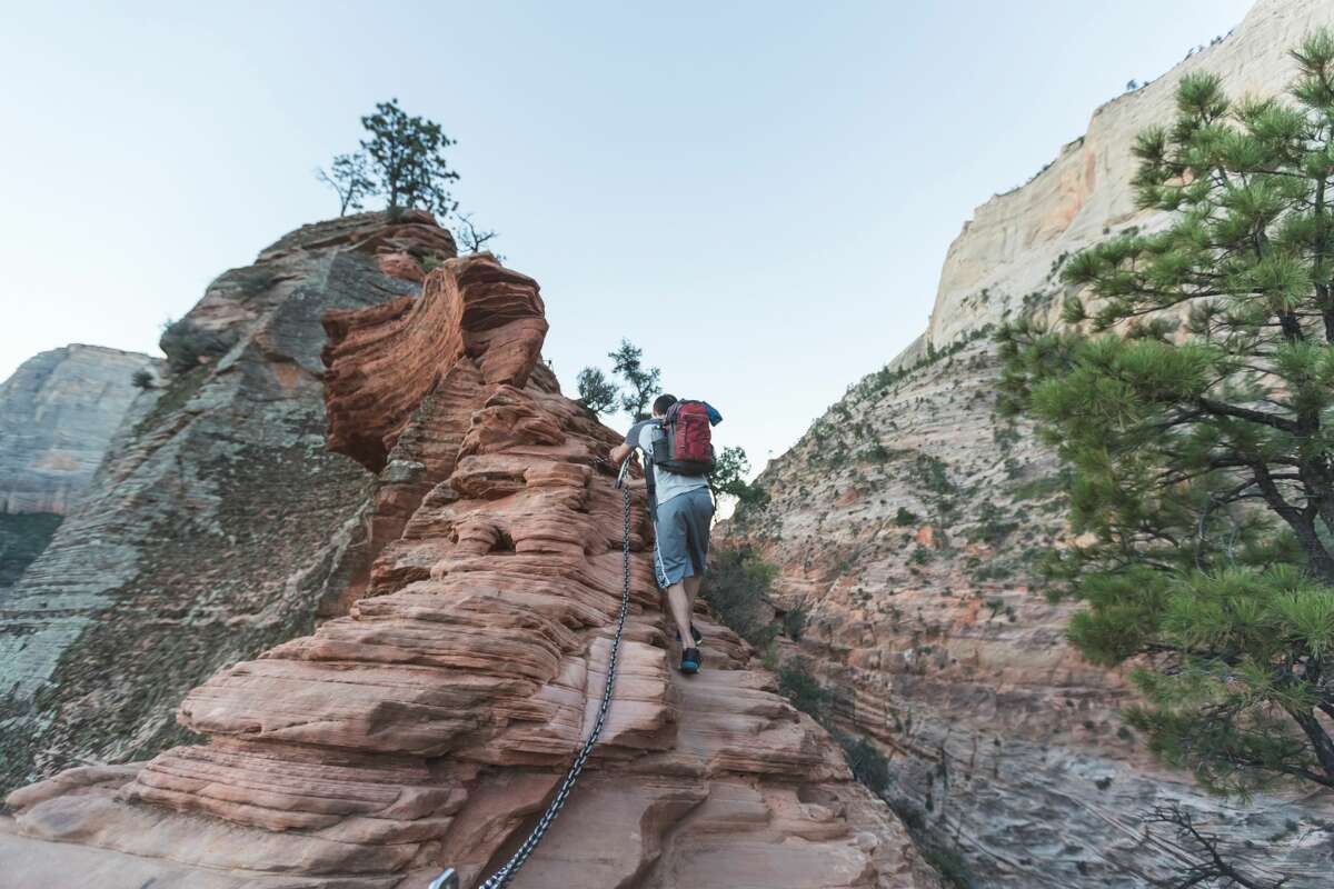 The most dangerous trails in America Angels Landing, Zion National Park, Utah. This scary climb tops off the most spectacular hike in the park. An average of two hikers are killed on the route each year, most recently a 13-year-old girl.In some places the trail narrows to a couple of feet in width with sheer, 1,000-foot drops on either side. These areas are protected by bolted chains for handholds, but are still nerve-wracking nonetheless.