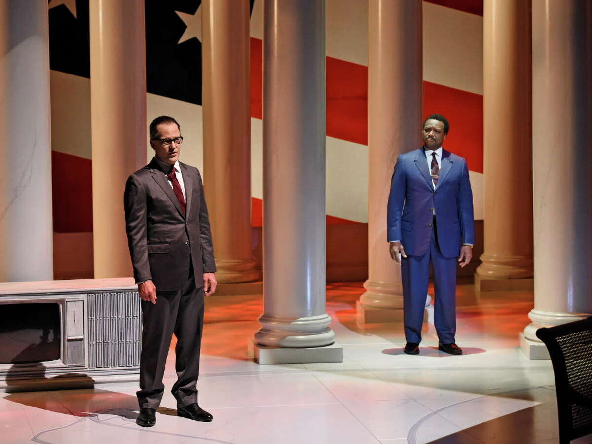 """Brandon Potter as President Lyndon Baines Johnson and Shawn Hamilton as Rev. Martin Luther King, Jr.,in the Alley Theatre�'s""""The Great Society,"""" by Robert Schenkkan. """"The Great Society,""""directed by Kevin Moriarty,runs now through Feb. 18in theHubbard Theatre."""