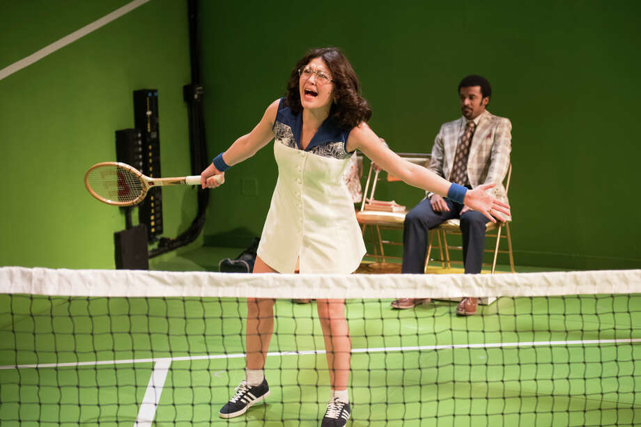 Ellen Tamaki and Danté Jeanfelix in BALLS at 59E59 Theaters. Photo: Russ Rowland / Russ Rowland