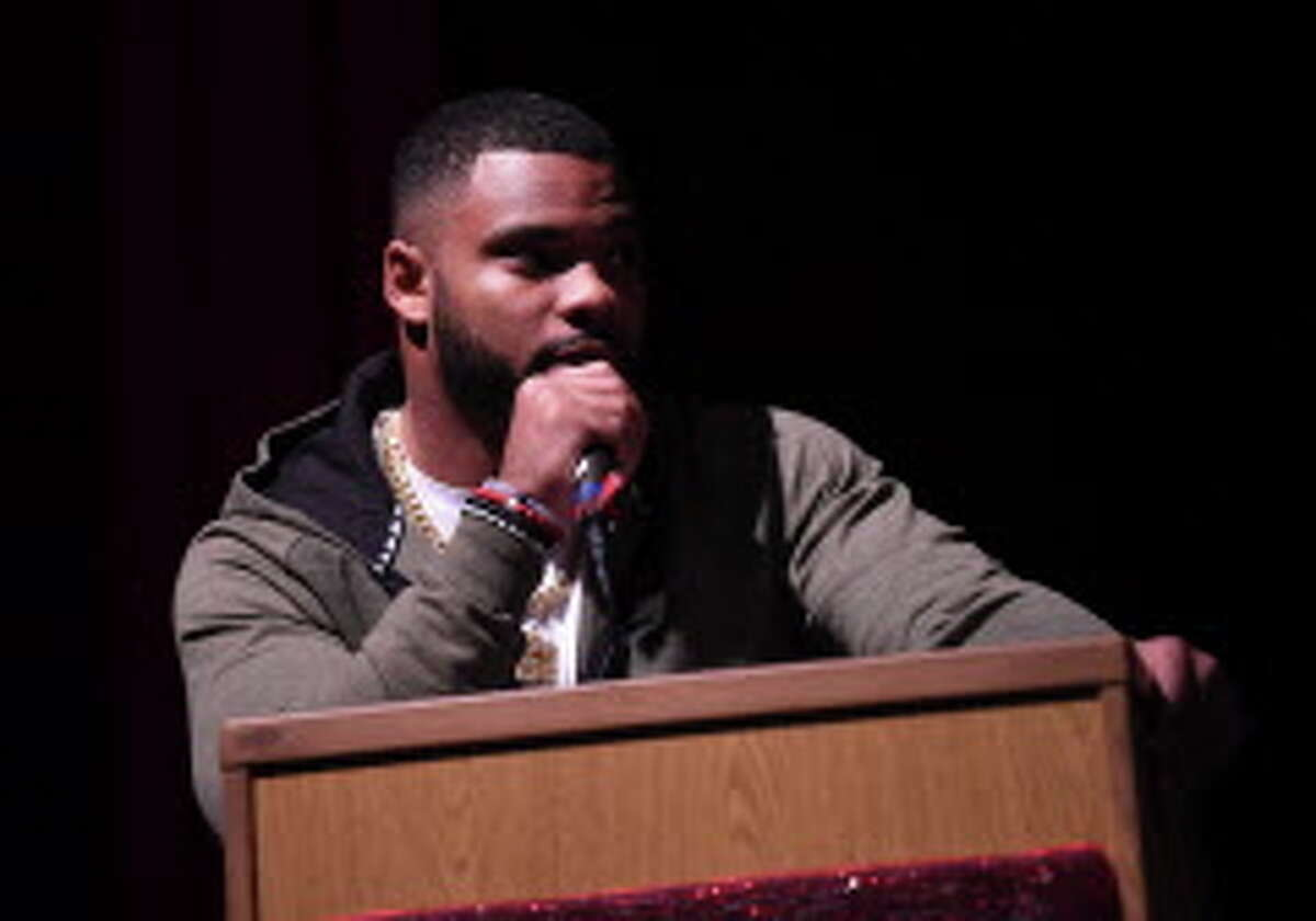 Elandon Roberts addresses the audience just before his Memorial High School jersey is retired during the school's National Signing Day ceremony on Wednesday. Roberts started at linebacker in Super Bowl LII. Photo taken Wednesday, February 07, 2018 Guiseppe Barranco/The Enterprise
