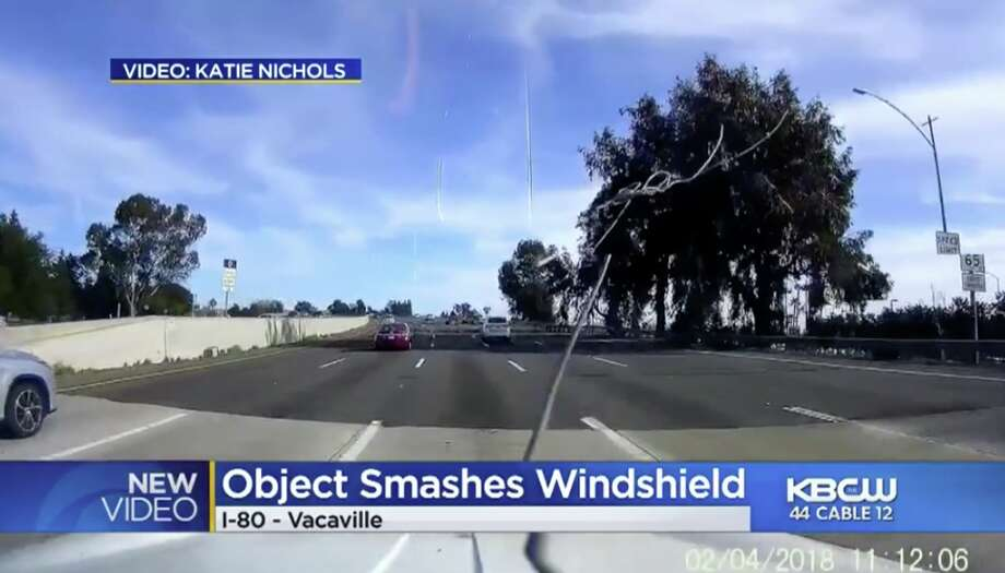 Woman's windshield struck by pipe while on Vacaville freeway