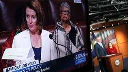 WASHINGTON, DC - FEBRUARY 07:  A TV shows U.S. Minority Leader Rep. Nancy Pelosi (D-CA) giving a lengthy immigration speech on the House floor during the opening press conference for the 2018 House Democratic Issues Conference February 7, 2018 on Capitol Hill in Washington, DC. Pelosi exercised her power as minority leader and launched a filibuster-like floor speech on Dreamers and urged Republicans to take action to solve their status before the March 5th deadline President Trump has set for the Deferred Action for Childhood Arrivals policy.  (Photo by Alex Wong/Getty Images)