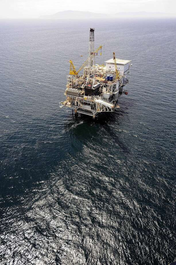 The offshore oil drillling platform Gail lies off the coast of Santa Barbara, shown in a 2009 photo Photo: Chris Carlson, ASSOCIATED PRESS