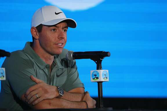 PEBBLE BEACH, CA - FEBRUARY 07:  Rory McIlroy of Northern Ireland addresses a press conference ahead of the AT&T Pebble Beach Pro-Am on the Pebble Beach Golf Links on February 7, 2018 in Pebble Beach, California.  (Photo by Warren Little/Getty Images)