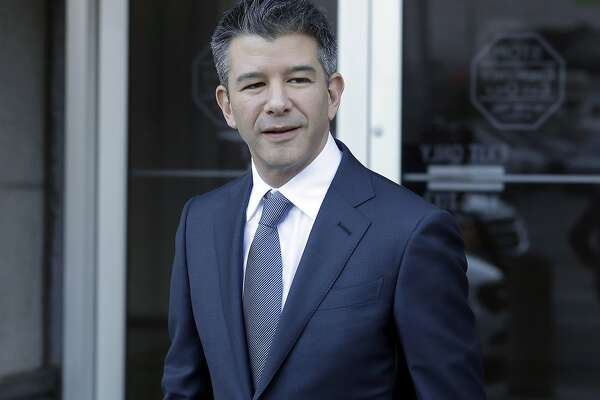 Former Uber CEO Travis Kalanick leaves federal court in San Francisco, Wednesday, Feb. 7, 2018. (AP Photo/Jeff Chiu)
