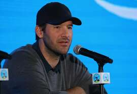 PEBBLE BEACH, CA - FEBRUARY 07:  Tony Romo addresses the media ahead of the AT&T Pebble Beach Pro-Am on the Pebble Beach Golf Links on February 7, 2018 in Pebble Beach, California.  (Photo by Warren Little/Getty Images)