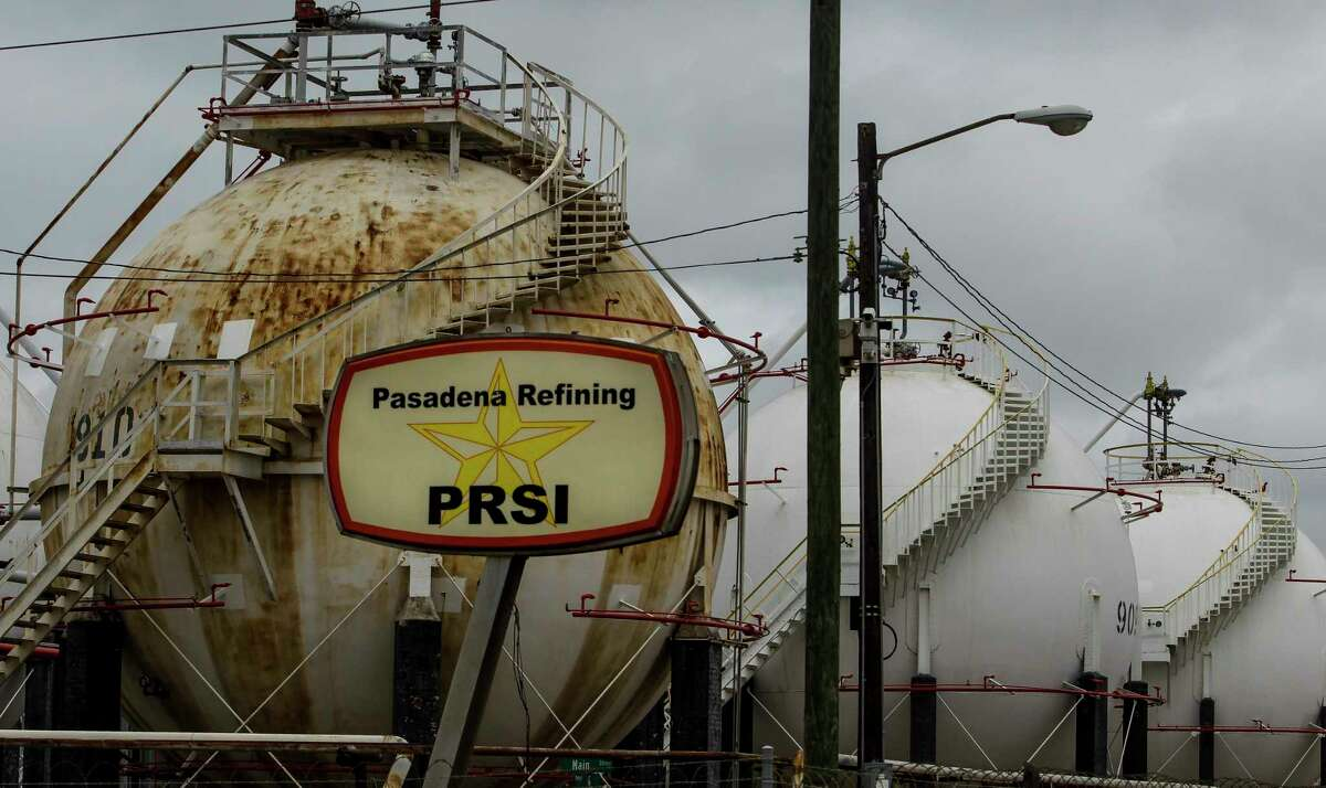 A sign from Pasadena Refining Systems Inc. still stands around a refinery now owned by Petrobras, the Brazilian government's state-controlled oil producer, Tuesday, Oct. 20, 2015, in Pasadena. Petrobras paid more than $1 billion to buy the refinery from Pasadena Refining Systems Inc. in a series of transactions dating to 2006, a much higher price tag than the $42 million Astra Oil paid a year before. There is an ongoing criminal probe into the Pasadena deal as part of a larger Brazilian investigation into Petrobras transactions and allegations of bribery. (Michael Ciaglo / Houston Chronicle)
