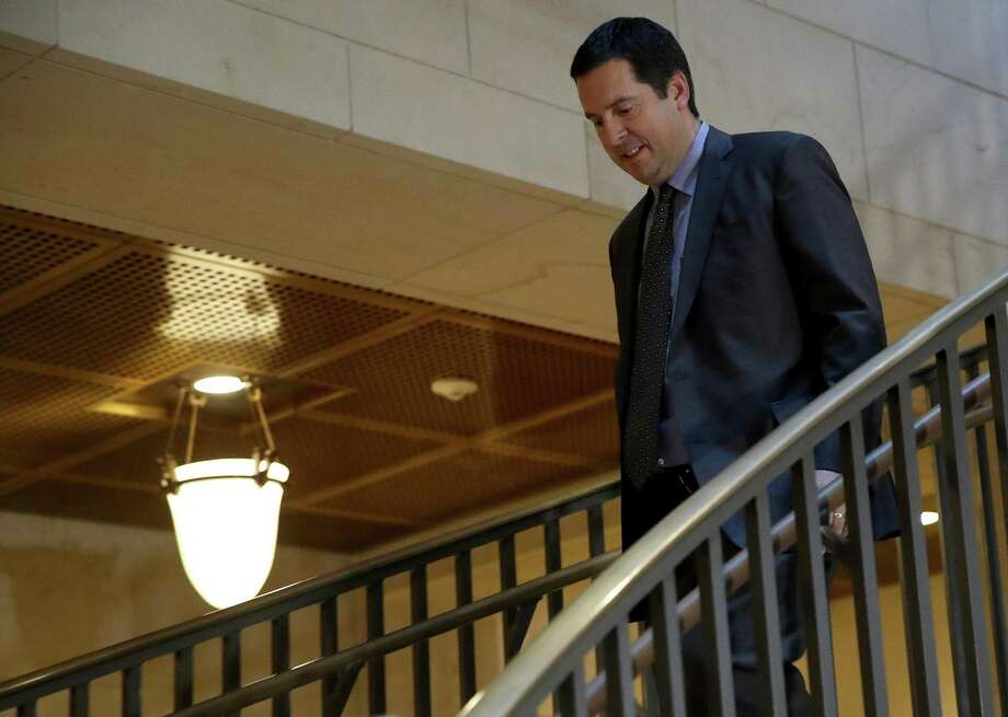 Rep. Devin Nunes, chairman of the House Permanent Select Committee on Intelligence arrives for a committee meeting the U.S. Capitol Monday. Attempting to block the memo his staff prepared on the grounds of national security was duplicitious