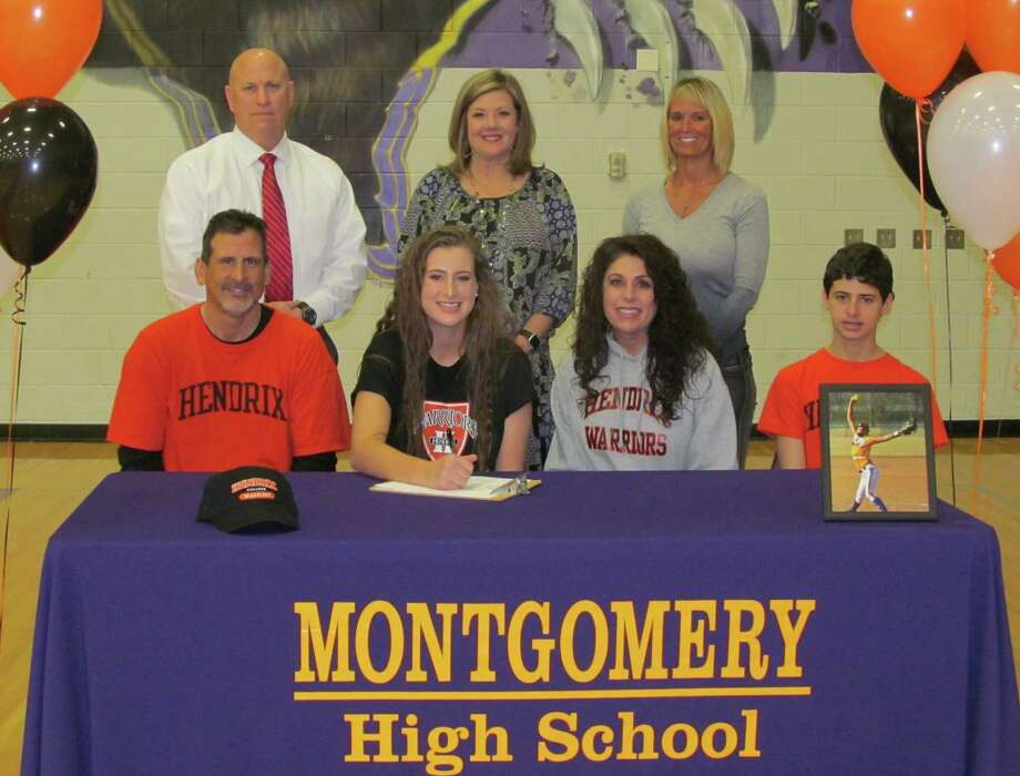 Montgomery High School Softball Player, Skyler Teague, signs her letter of intent to play at Hendrix College. Skyler is pictured with her brother, Easton and parents, Linda and Dennis Teague.Montgomery ISD personnel pictured are Montgomery ISD Athletic Director Clint Heard, Montgomery High School Principal, Brandi Hendrix and Head Softball Coach Michelle Rochinski. Photo: MISD