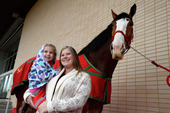 Harper Crawford and Amber McCarthy with Red, a Budweiser Clydesdale, during their appearance at The Event Centre on Wednesday afternoon. The Clydesdales will be in Port Arthur for this weekend's Mardi Gras of Southeast Texas.  Photo taken Wednesday 2/7/18 Ryan Pelham/The Enterprise