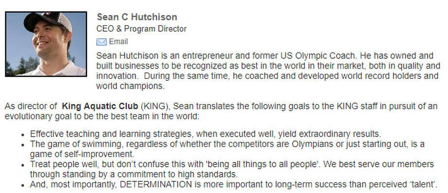 Sean Hutchison was listed as the CEO and program director of King Aquatic Club as of Wednesday, Feb. 7, 2018. Police searched his Seattle apartment the day before looking for evidence that he had sexually exploited a teen Olympian. Photo: King Aquatic Club