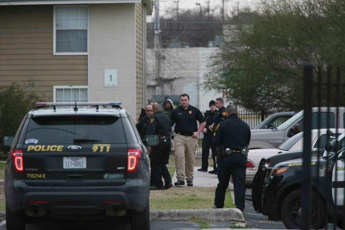 San Antonio Police investigate the scene of a shooting at the The Place Apartments at the 3100 block of East Commerce Street, Wednesday, Feb. 7, 2018.