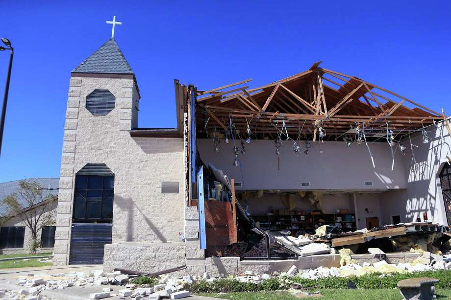 The First Baptist Church in Rockport, Texas, had extensive damage during Hurricane Harvey. A major budget deal brokered by Senate leaders could provide nearly $90 billion in aid for Texas, Florida, Puerto Rico and other states and territories hit by storms and wildfires. That would be about a 10 percent bump from the $81 billion disaster aid package passed in December by the House. Photo: Rachel Denny Clow /Corpus Christi Caller-Times / Corpus Christi Caller-Times