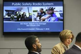 City Manager Sheryl Sculley briefs City Council on a proposal for a newly updated communications system for public-safety personnel on Feb. 7. All of the chiefs of Bexar County's emergency-services districts are balking at the City Council's unanimous decision to give a $106 million contract last week to Dailey-Wells, the company that built and maintains the system currently being used.