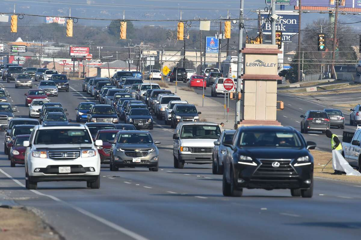 Heavy traffic makes its way along Bandera Road, one of San Antonio's most congested roads. A new intersection at Bandera and Loop 1604 is expected to help facilitate traffic flows.