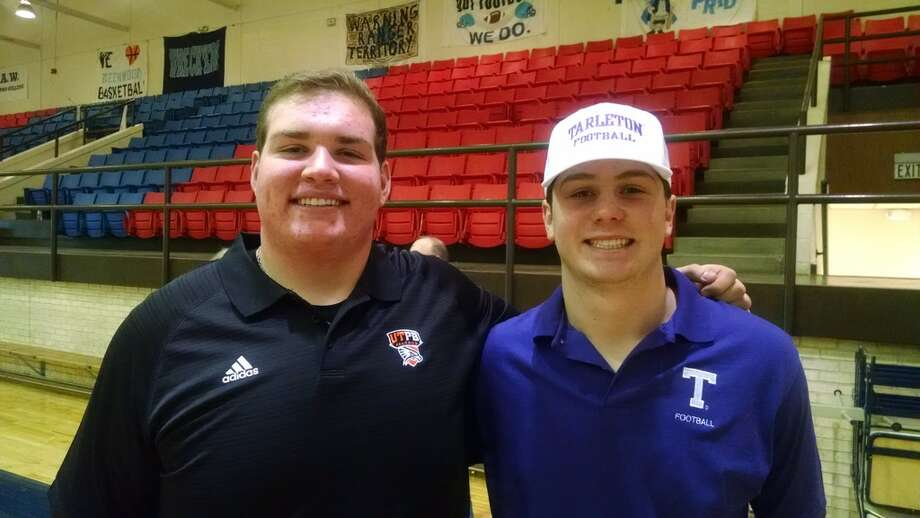 Greenwood High School football teammates Matthew Groeschel, left, and Sloan Stephens pose after signing their letters-of-intent to play college football. Groeschel signed with UTPB and Stephens signed with Tarleton State University. Photo by Oscar LeRoy