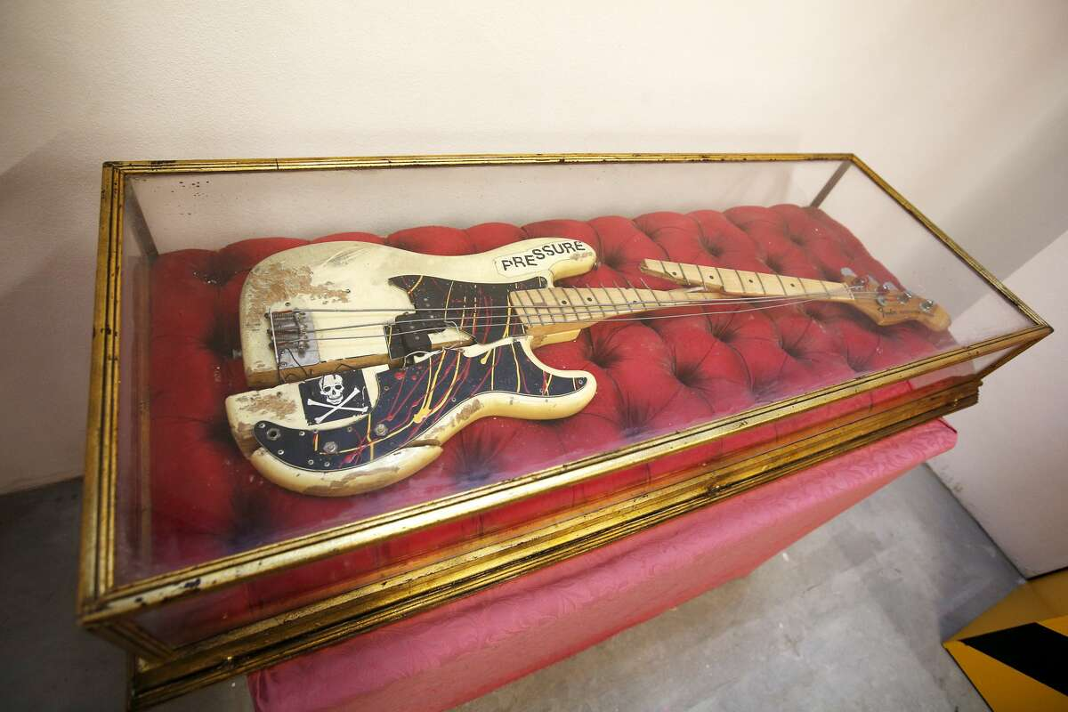 The remains of the Fender Precision electric bass guitar which was immortalised on the cover photograph of The Clash's album 'London Calling' on display at Black Market Clash pop-up exhibition and store in Soho to mark the release of the group's remastered collected works Sound System box set and new best of collection, Hits Back. (Photo by Jonathan Brady/PA Images via Getty Images)