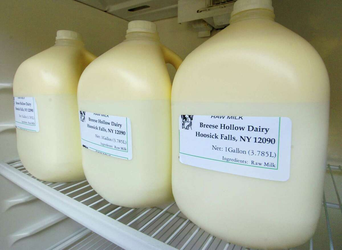 TIMES UNION STAFF PHOTO WILL WALDRON--Containers of raw milk for sale at Breese Hollow Dairy in Hoosick Falls, Thursday May 5, 2005. Chuck Phippen won the first license in New York given out to produce unpasteurized milk. On May 27, the farm's raw milk sales were halted because of a listeria contamination.